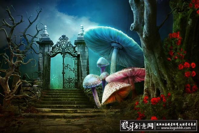 蓝色梦幻视觉效果合成海报设计 奇幻的梦境合成图[提示:创意素材栏的