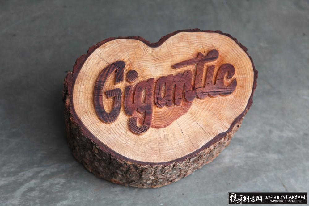 木头 木桩 木凳子 字体设计 雕刻字体设计.jpg