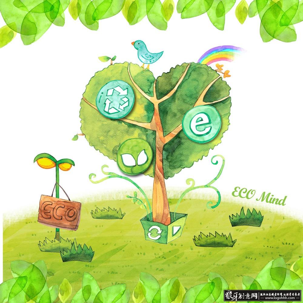 环保 保护环境爱护家园 小草小鸟植树节海报[提示:创意素材栏的资源均