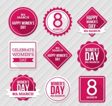 玫红色妇女节标签矢量素材,妇女节标签,丝带,标签,妇女节快乐,妇女节,矢量图