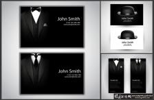 创意名片素材AI 时尚名片模板 个性名片背景 黑色西服男士西装礼服蝴蝶结帽子 创意卡片