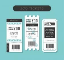 白色动物园门票设计矢量素材,野生动物园门票设计矢量图 门票模板优惠券 折扣券,AI格式