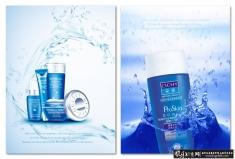 蓝色化妆品海报PSD护肤品展板 高档化妆品广告 大气化妆品宣传单 化妆品展板护肤品海报