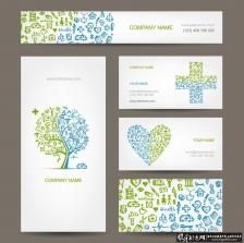 时尚VI应用设计AI 树木logo 心形小图标 医疗展板 医学展架 商务名片背景 时尚卡片背景