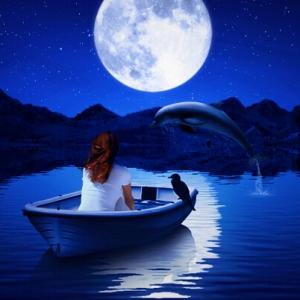 PS怎样合成浪漫唯美的月色场景,月亮下小船上的少女风景合成,优雅的月色夜晚场景合成